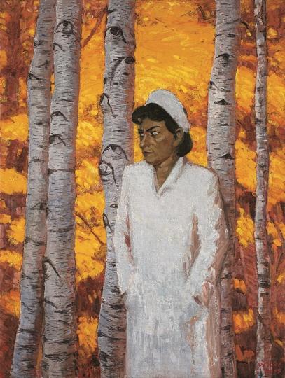 王兴伟 《无题(护士和树)》 184×140 cm 布面油画 2005