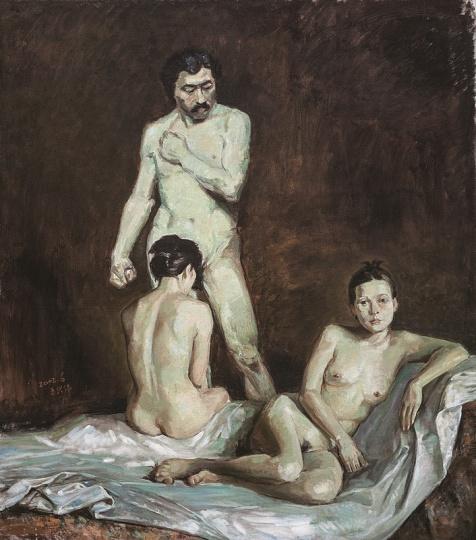 王兴伟 《无题(三个人体)》 196×153cm 布面油画 2002