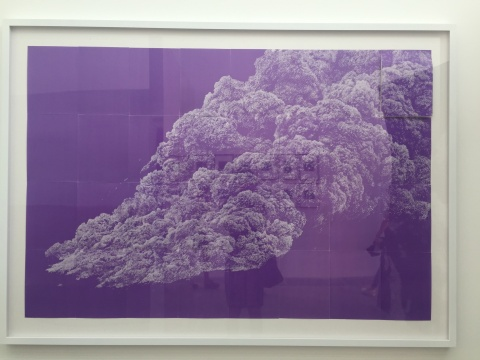 任瀚 《无题(泥石流1)》 118×76cm 紫色干性复写纸 2016