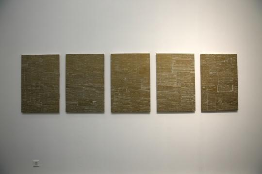 申凡 《标点003》90×300cm(五件 每件90×60cm)木板上综合材料 2014
