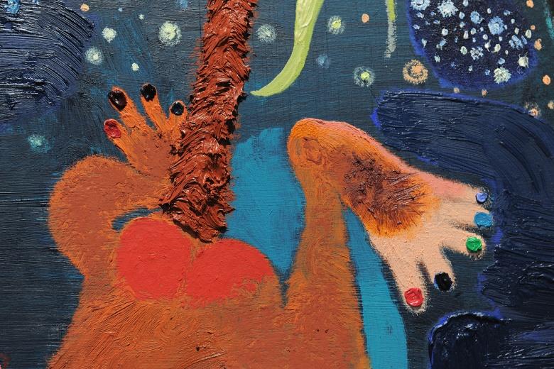"Tong Gallery+Projects刘恩钊个展""卢梭的花园"",鲜艳的色彩和强烈的笔触下,是矛盾、混乱和浮夸的结合体。"
