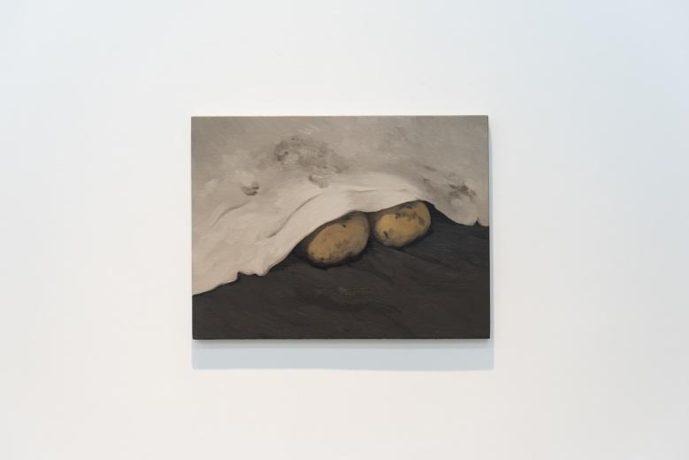 上海民生现代美术馆闫冰绘画作品《白布遮住的土豆》和《两朵黑云》,即便是云朵,也带着土地的温度。