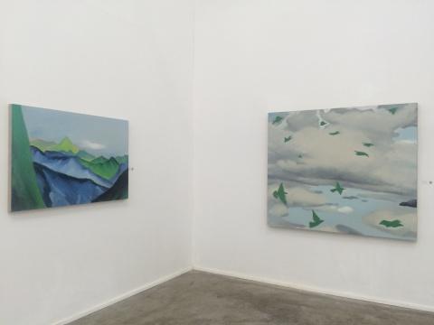 张艳娜 《山》 80cm×120cm 布面油画 2013、《飞鸟》 160cm×130cm 布面油画 2013