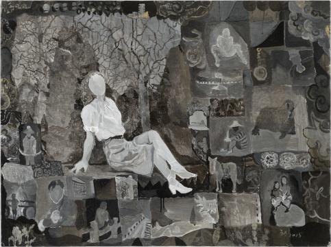王顷 《斜坐的女子》89×119cm 纸本丙烯 2015