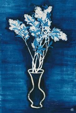常玉 《蓝色背景的盆花》 72.5×46.5cm 布面油画 1956  成交价:3933万元 北京保利2016春拍