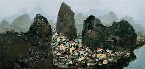 吴冠中 《桂林》 43×88cm 木板油画 1970-1996  成交价:2300万元 北京保利2016春拍