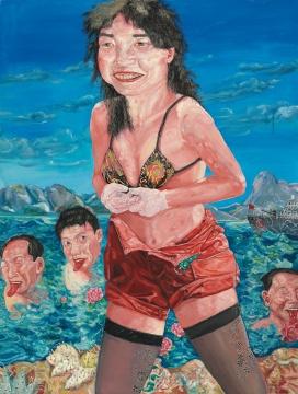 刘炜 《游泳美女 第三号》200×150cm 布面油画 1994  成交价:1684万港币 香港佳士得