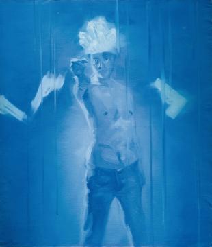谢南星 《拿枪的自画像》 148×128cm 布面油画 1997 成交价:151.8万元 北京匡时2016春拍