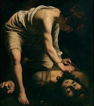 卡拉瓦乔 《大卫与葛力亚》 110.4×91.3 cm油画画布 1600 马德里普拉多美术馆