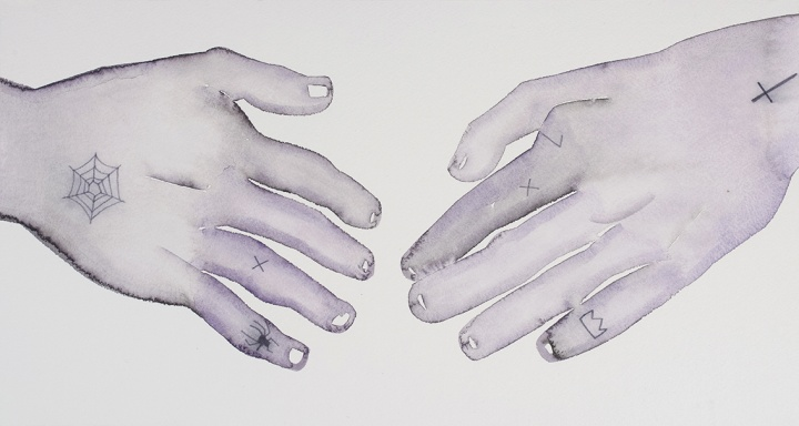 《X》 27×50cm 纸上水粉 2015