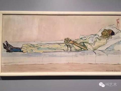 巴塞尔美术馆中最令人难忘的作品是瑞士艺术家Hoddler的十几件作品,从人物到风景,都有着细腻敏感而令人扼腕叹息的悲伤。瞬间让我想起在5月纽约大都会新馆展览《unfinished》中的那件描绘爱人Valentine因病死去的那张病榻(图4),在大都会展出的众多大师作品中依然十分耀眼。