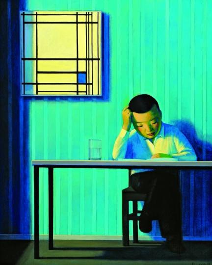 《自画像与蒙德里安》110x80cm 布面丙烯 1998