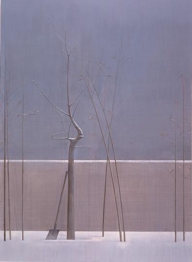 《树与竹子的构图》 300×220cm 布面丙烯 2007-2008