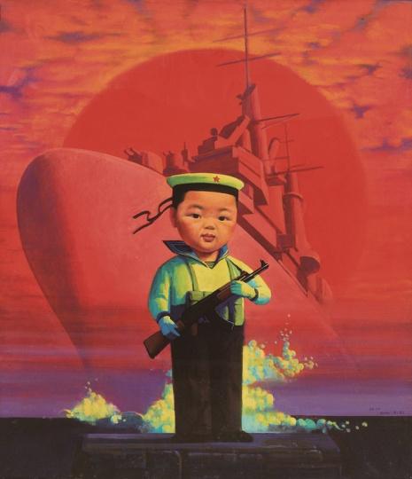 《小海军》105x92cm 布面丙烯油彩 2000