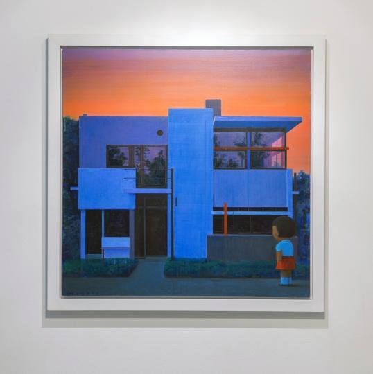 《傍晚的李特菲尔德别墅》100x100cm 布面丙烯 1998-2003