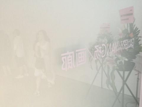 杨画廊新空间低调开展,除了贴在自动门上的画廊字样外并没有放置显著logo