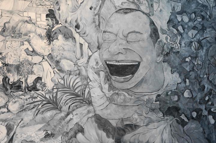 岳敏君《破碎的梦花园》 布面油画 220×350cm 2014