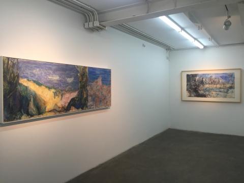 展览现场,漆澜的作品《透纳的废墟》、《董其昌的沼泽》