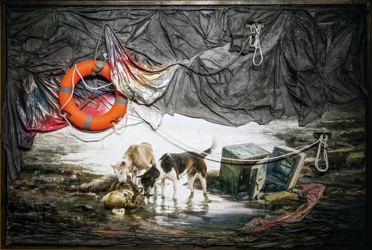 闫珩《珩河》 216×320×8cm 布面油画装置 2015-2016