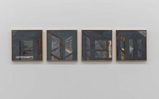 马树青 《方凳研习1-4》 51.5×51.5cm×4 油性蛋彩、布面 1991