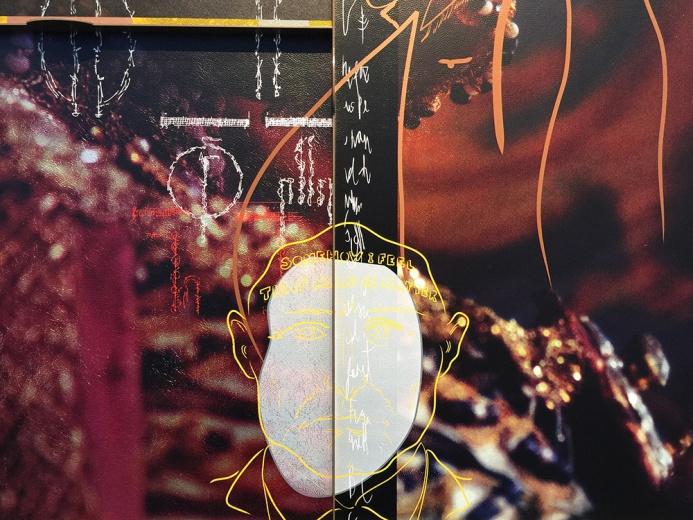 海伦·马腾(Helen Marten)b. 1985  英国 作品《盛放之下:糟糕的挽歌》在层层叠叠上蜡布料和皮革面料构成的三块宽阔的网格板上进行了丝网印刷,小型雕塑装置点缀其上。从象形字符、层叠饰面到平面的颜料色块,错综复杂的图案印在皮革、绒面和胶木板上。