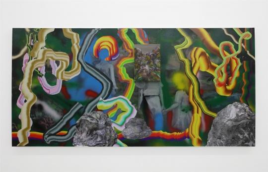 丁力 《无题》 100×200cm布上油画、喷漆、照片 2016