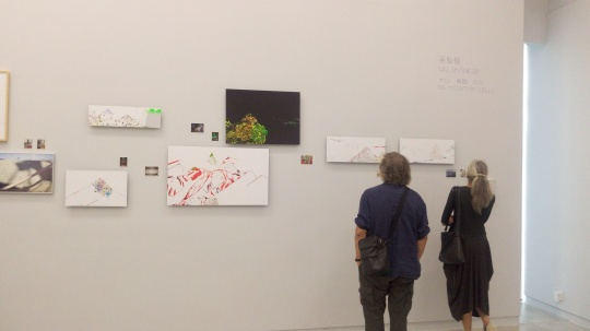 展览现场,在作品前驻足的观众