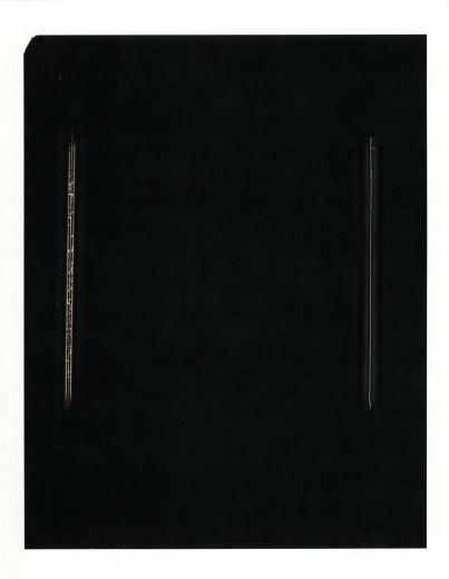 展览现场《自迹》系列。是一组在暗室实验的作品,是在一纸感光载体上双手留下的刹那痕迹,突破了摄影中拍摄模式的框限。