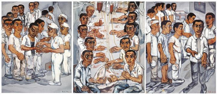 《协和医院系列之三》(三联作) 150×115cm×3 布面油画 1992 成交价:1.13亿港币(8900万人民币) 佳士得香港2013年秋季拍卖会