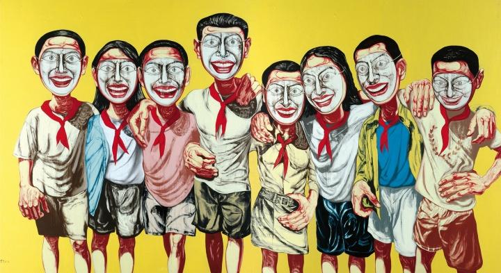 《面具系列1996 NO.6》(两联作) 200×360cm 布面油画 1996 成交价:7537万港币(6708万人民币) 佳士得香港2008年春季拍卖会