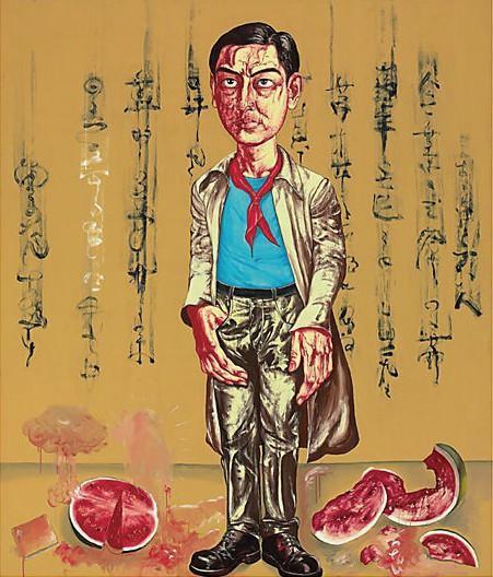《自画像》 200×168.5cm 布面油画 1996 成交价:3762万港币(3149万人民币)  佳士得香港2011年春季拍卖会