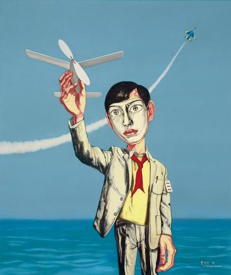 《面具系列1998五号》196.2×168.2cm 布面油画 1998成交价:3090万港币(2533.8万人民币) 香港苏富比2011年秋季拍卖会