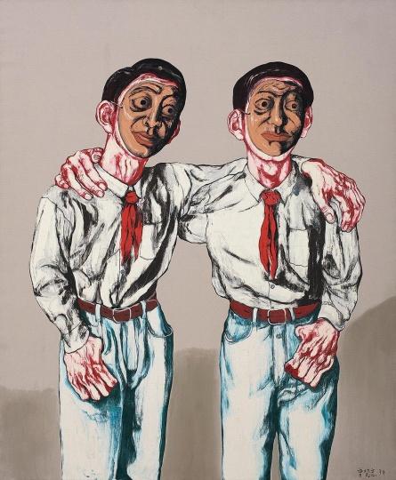 《面具系列5号》 180×150cm 布面油画 1994 成交价:2252万港币(1779万人民币) 香港苏富比2014年春季拍卖会