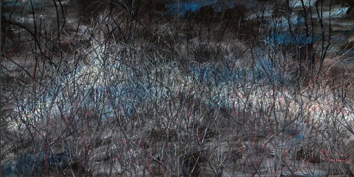 《江山如此多娇6号》 (双联作)250×500cm 布面油画 2006 成交价:2252万港币(1779万人民币) 香港苏富比2014年春季拍卖会