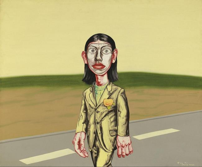 《面具系列1997:第十七号》 150×179.5cm 布面油画 1997 成交价:1916万港币(1540万人民币) 佳士得香港2014年春季拍卖会