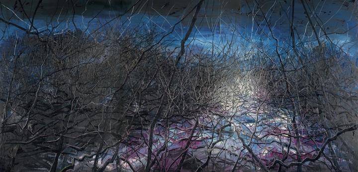 《 不可思议的夜 (07-18)》 259×537cm 布面油画 2007 成交价:1804万港币(1512万人民币) 佳士得香港2016年春季拍卖会