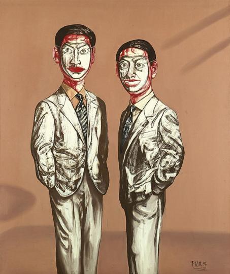 《面具系列 第三号》 180×167cm  布面油画 1994 成交价:1916万港币(1505.9万人民币) 佳士得香港2014年秋季拍卖会