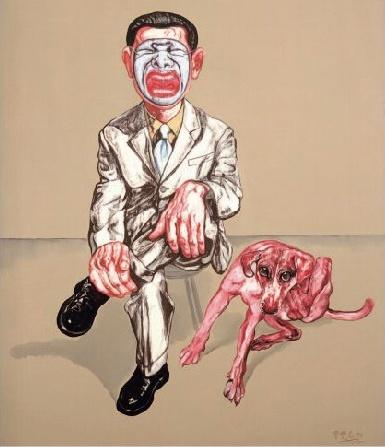 《假面系列十九号》 150×130cm  布面油画 1994 成交价:1746万港币(1470万人民币) 香港苏富比2011年春季拍卖会