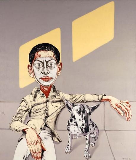 《面具系列 1996 第8号》 170×145cm  布面油画 1996 成交价:1264万港币(1264万人民币) 佳士得香港2007年春季拍卖会