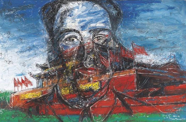 《TIANANMEN》 215×330cm 布面油画 2004 成交价:1410万港币(1150.6万人民币) 佳士得香港2011年秋季拍卖会