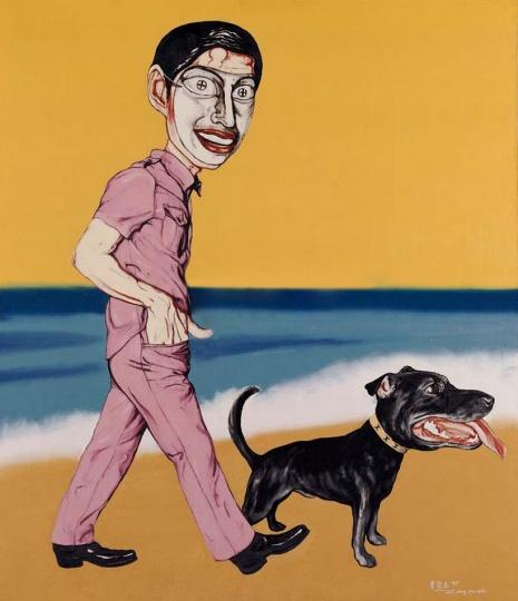 《假面系列 1997 第五号》 149×129.5cm 布面油画 1997 成交价:1096万港币(1096万人民币) 佳士得香港2007年春季拍卖会