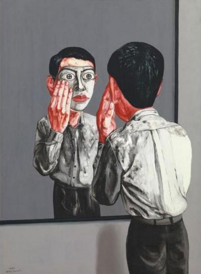 《面具系列》151×109cm 布面油画 1999 成交价:1242万港币(1084万人民币) 香港苏富比2010年秋季拍卖会