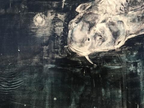 《鱼》局部 60 x 80 cm 布面油画 2015