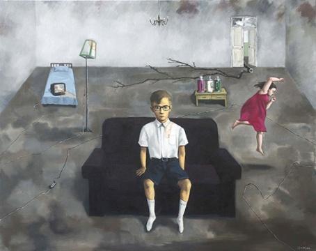 《黑沙发》120 cm x 150 cm 布面油画 2016