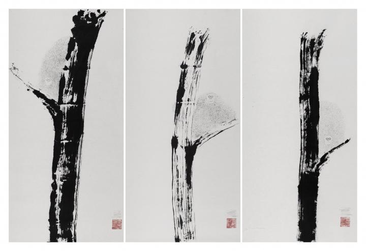 《九猿图》(局部) 纸本水墨 200×1000cm 2015