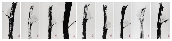 《九猿图》 纸本水墨 200×1000cm 2015