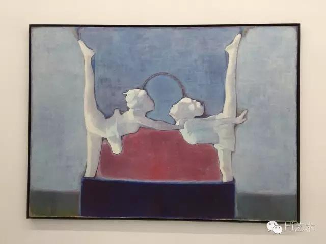 唐永祥 《有红色和蓝色,中间是耍杂技的两人》 130×180cm 布上油画 2014