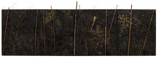 尚扬 《浴竹图-2》 253×720×16cm布面沥青竹铁泥土2013