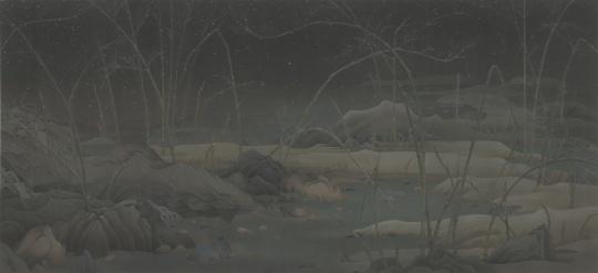 《潇湘八景——雪色》 387 x 184 cm 绢本水墨 2014-2015