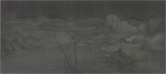 《潇湘八景——瞬息》 387 x 184 cm 绢本水墨 2014